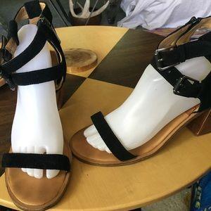 Dolce vita heels sandals black leather Sz 10